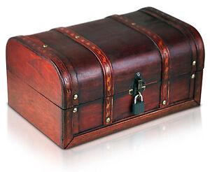 piraten schatztruhe mit schloss schatzkiste holz truhe 30x20x15cm neu ebay. Black Bedroom Furniture Sets. Home Design Ideas