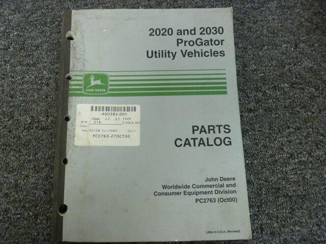 John Deere 2020 & 2030 ProGator Utility Vehicle Parts Catalog Manual on
