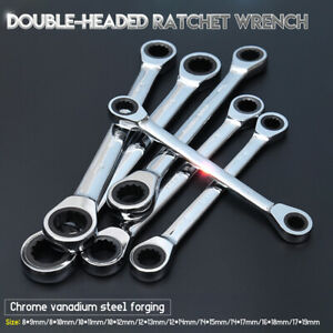 8-19mm-Double-head-Wrench-Tool-Kit-Reversible-Ratchet-Set-Lug-Nut-Socket-Spanner
