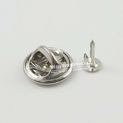 20 50 100 TIE Tacks Findings Pins Round Pinch Clip Chrome Lapel Clutches Silver