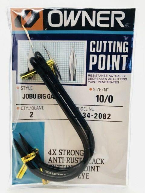 OWNER 5134-2082 JOBU™ Big Game 10//0 Hooks 2 Pack Cutting Point 4X Strong Tuna