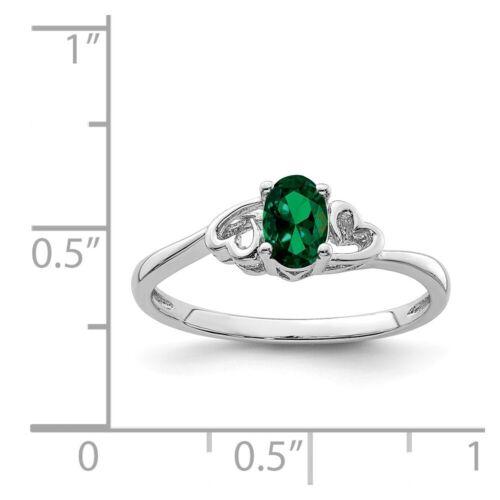 Sterling Silver créé Emerald peut Pierre de naissance Bague 1.31 g Taille 5 To 10