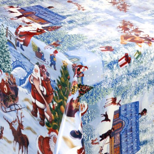 Toile Cirée Nappe au mètre carré environ ovale Noël Hiver 01228-00