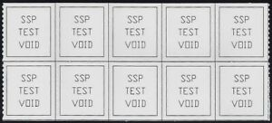 """TD138 Scarce Test / Dummy 2 Connected Strips of 5 """"SSP Test Void"""" Mint NH"""