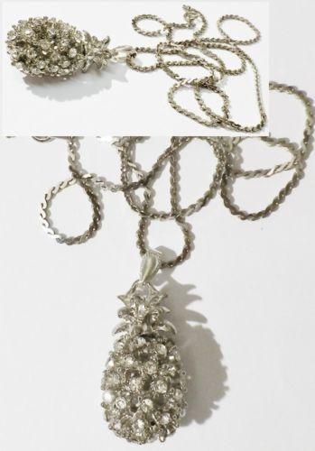 Pendentif chaine bijou vintage ananas 3D cristaux diamant color silver  4914