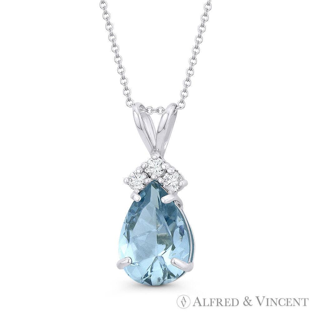 Faux Aquamarine bluee Pear-Shaped Round CZ Crystal 14k White gold 18x7mm Pendant
