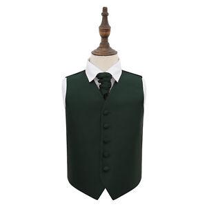 DQT-Plain-Solid-Check-Dark-Green-Boys-Wedding-Waistcoat-amp-Cravat-Set