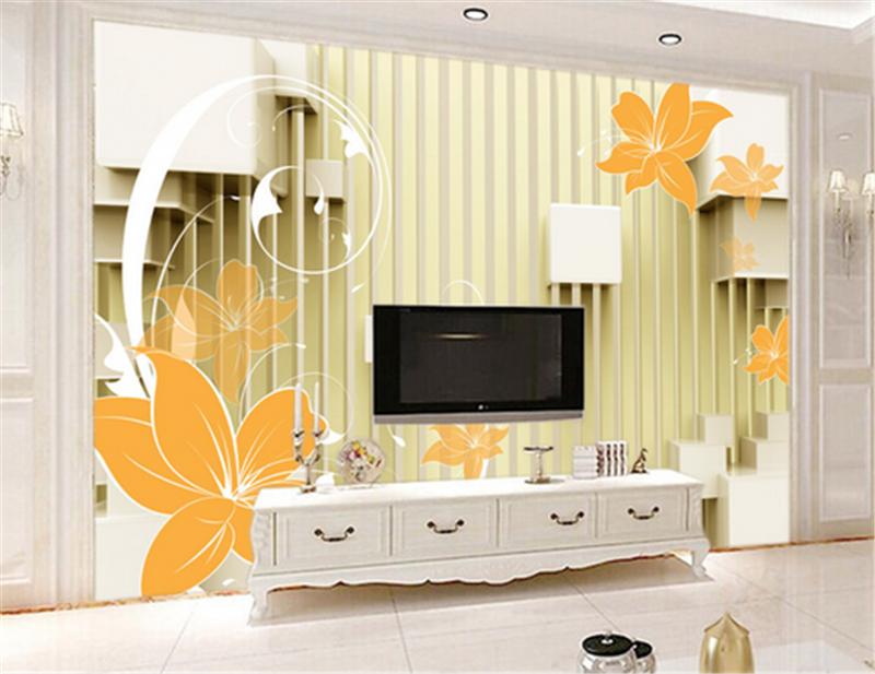 3D Striped Orange Flowers 9 Wallpaper Mural Paper Wall Print Wallpaper Murals UK