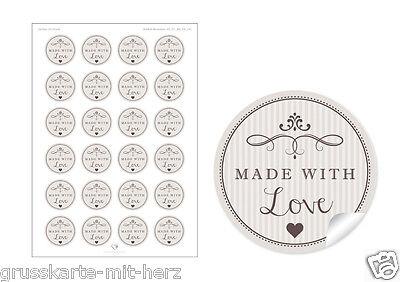 24 Schöne Etiketten in weiß mit Herz und Ornamente mit 6 verschiedene Texten