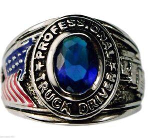 Camionneur USA Hommes Petit Doigt Dames Bleu Saphir Platine Revêtement Taille 7 Bdukw3Dg-09153554-890777309
