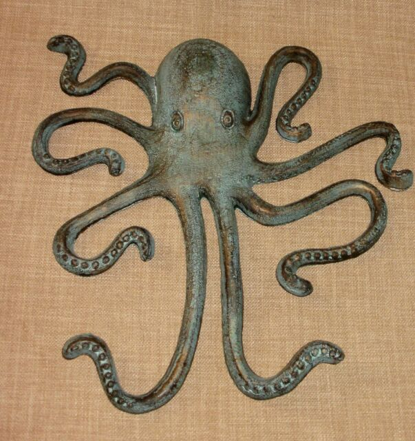 Lrg Marine Blue & Gold CAST IRON Octopus Wall Hanging Decor Nautical Jules Verne