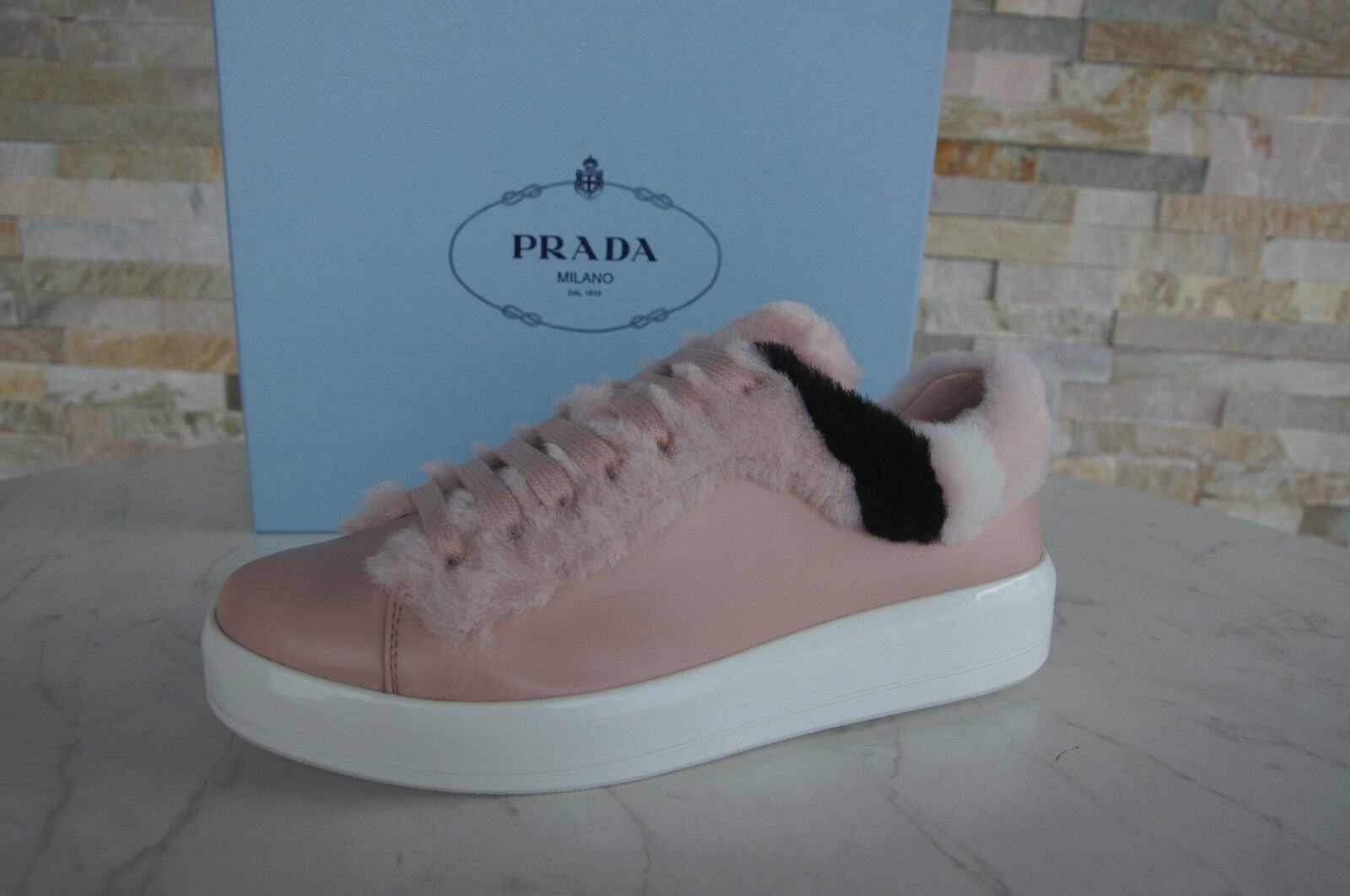 PRADA 37 Sneakers Fur shoes Lace Up shoes Sheepskin Peach NEW formerly