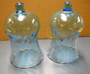 Set 2 Home Interior Homco Light Blue Swirl Glass Candle