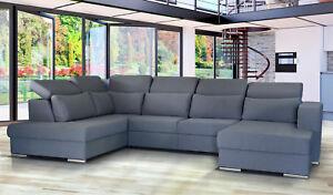 Eckcouch Mit Schlaffunktion Ecksofa Couch Wohnlandschaft L Form Grau