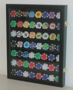 Poker Chip Casino Souvenir Chip Display Case Wall Frame Cabinet, Black