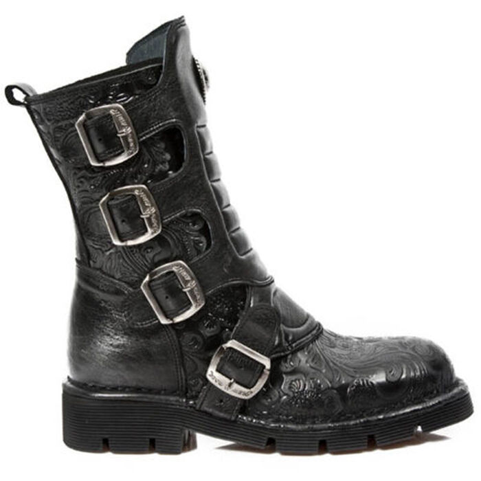 Grandes zapatos con descuento Newrock New Rock Women M.1471-S5 Black Vintage Flower Rock Leather Boots