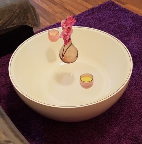 Couchtisch Ring Weiß Hochglanz Glasplatte Beistelltisch Tisch Loungetisch