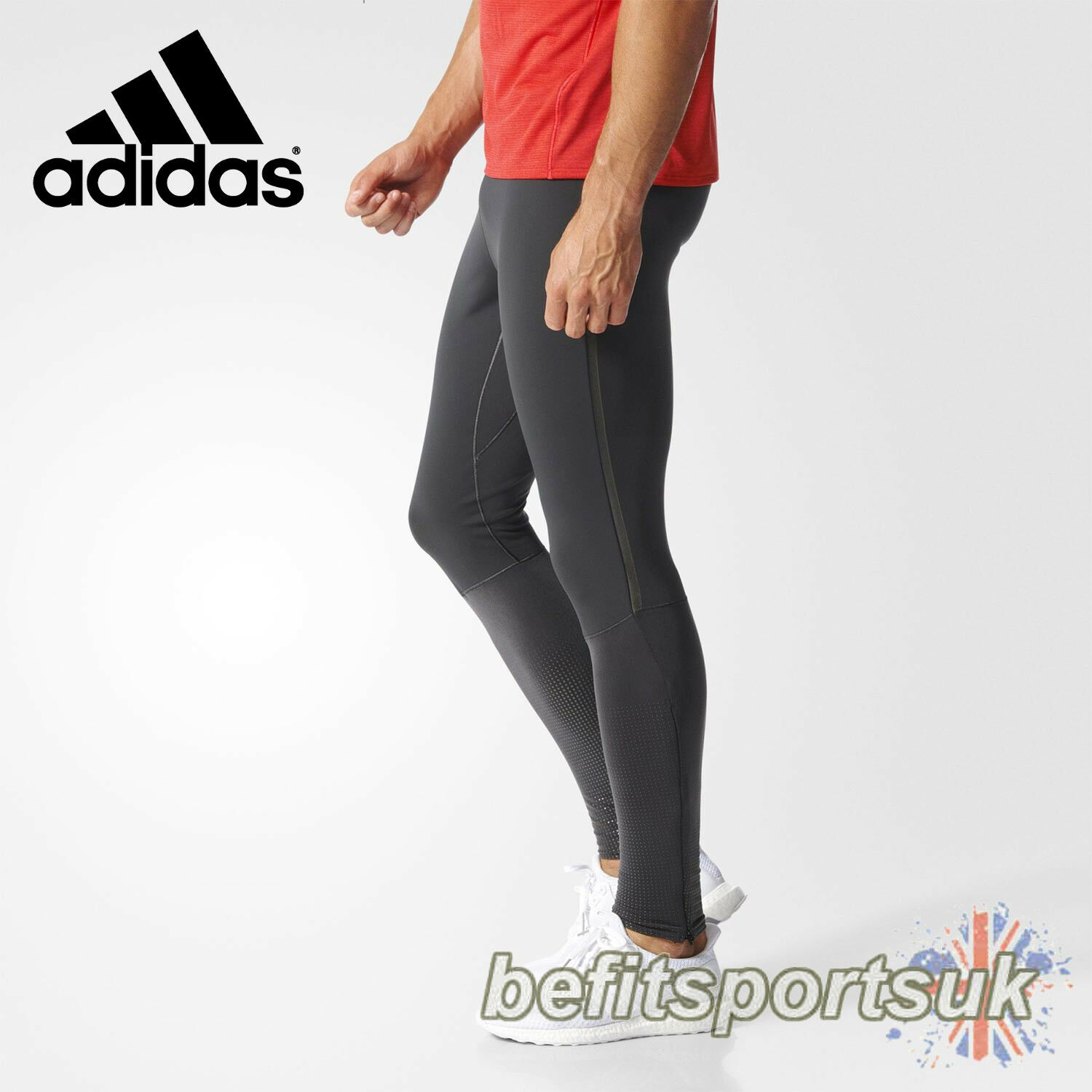 ADIDAS MENS CLIMAHEAT ZIP WARM THERMAL WINTER RUNNING TIGHTS LEGGINGS S M L XL