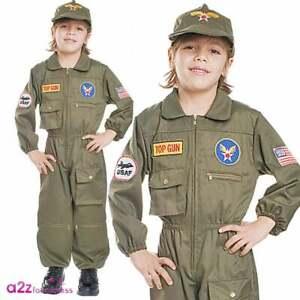 32d2903102a Kids Air Force Fighter Pilot Uniform Military Ace Childrens Fancy ...