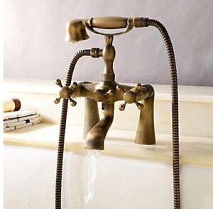 Vintage Retro Antique Brass Bathroom Clawfoot Bath Tub Faucet Hand