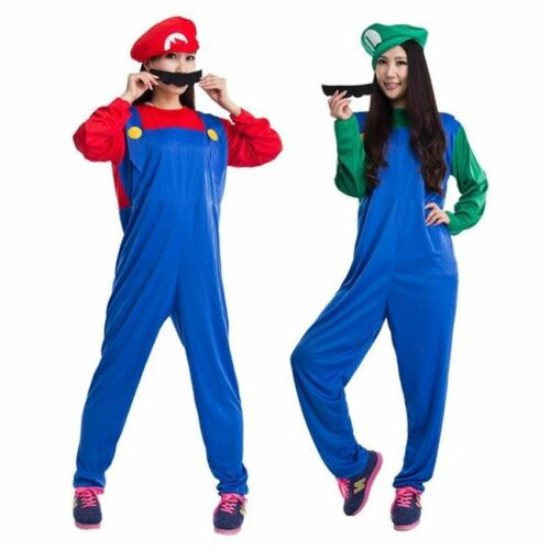 UK Adult Men Super Mario Luigi Bros Plumber Brothers Fancy Dress Outfit Costume.
