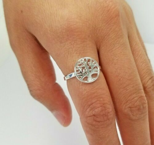 Size  5 to 9 Available 925 Sterling Silver Round Dainty Tree Of Life Ring