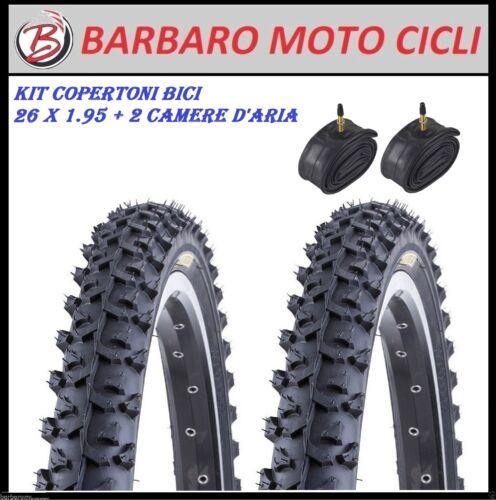 KIT 2 COPERTONI 2 CAMERE D/'ARIA MTB BICI BICICLETTA 26 X 1.95