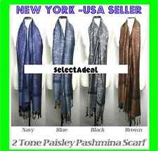 New Fall Winter Large 78X28 Pashmina Paisley Silk Scarf Shawl Wool Blend Wrap