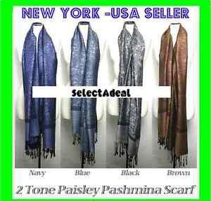 2PLY-Fall-Winter-Large-78X28-Pashmina-Paisley-Silk-Scarf-Shawl-Wool-Blend-Wrap