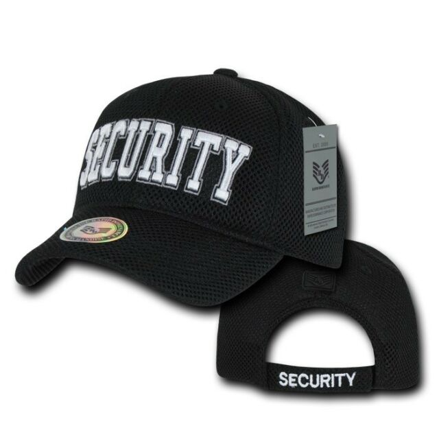 Black Security Guard Officer Embroidered Baseball Mesh Ball Cap Hat Caps  Hats 41ca1af7895