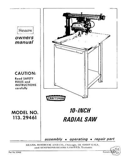 sears craftsman radial arm saw manual no 113 29461 ebay rh m ebay ie Craftsman Radial 100 ManualDownload sears craftsman radial arm saw manual pdf