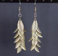 """Gold tone dangle chandelier earrings teardrop pendant wiggly flowy 3 3/8"""" long"""