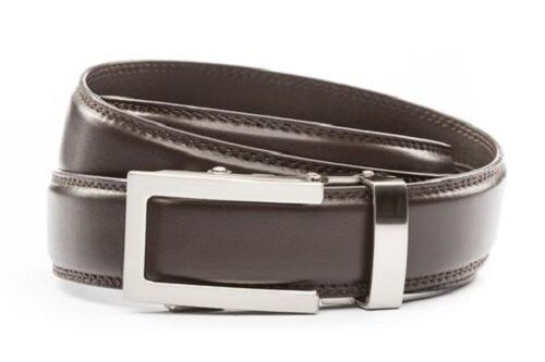 Men traditional silver buckle with dark brown leather strap Anson Belt /& Buckle