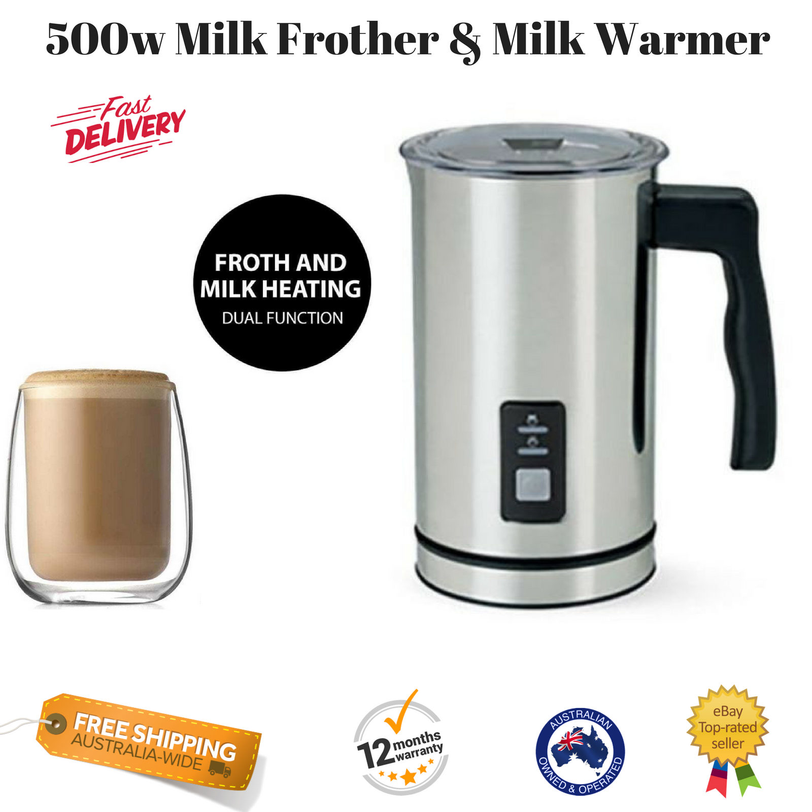 New Milk Frother Warmer Coffee Cuccino Latte Electric Froth Maker Warm Cafe