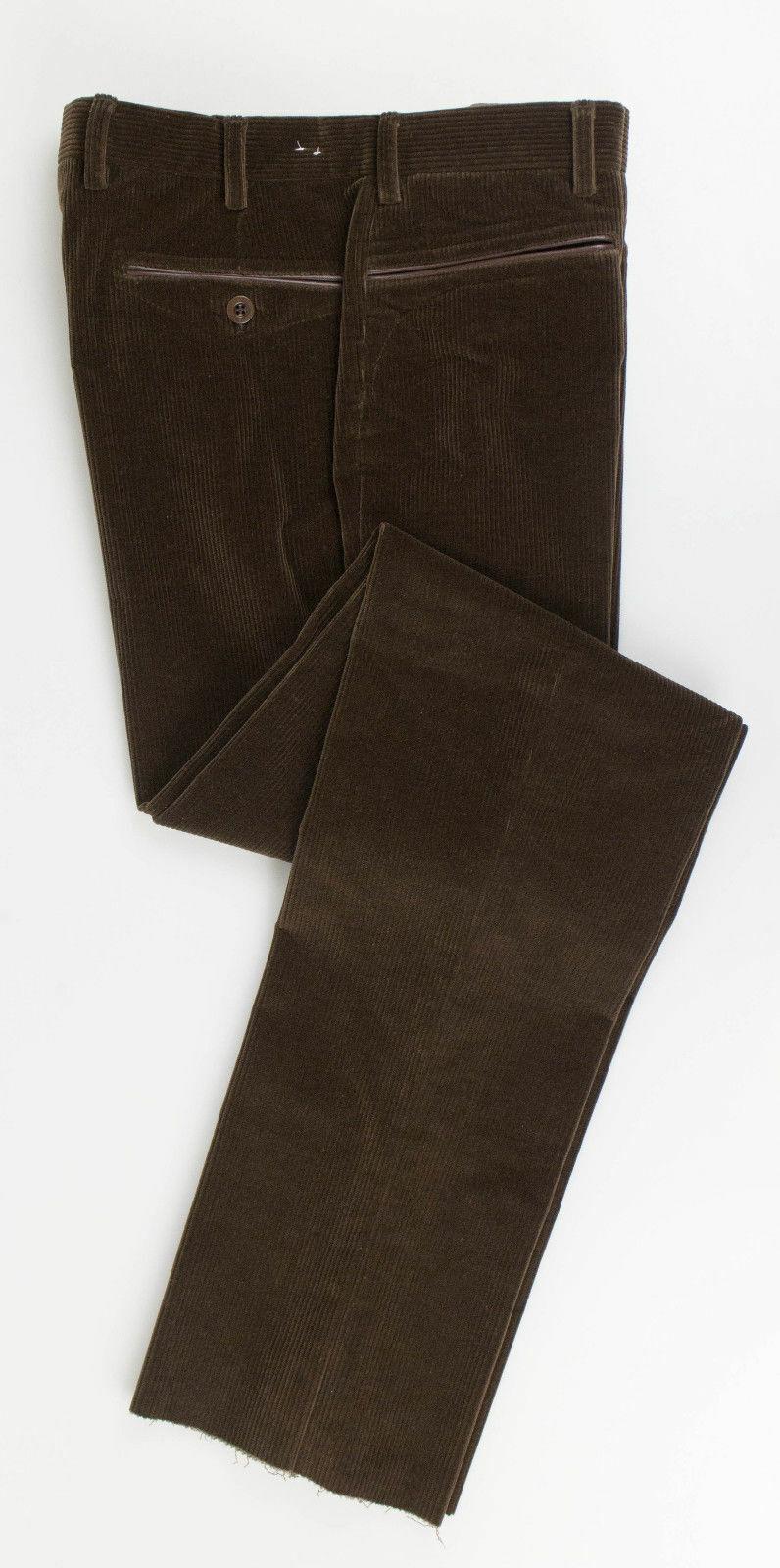 New. BRIONI Amiata Brown Cotton Blend W  Leather Corduroy Pants Size 46 30