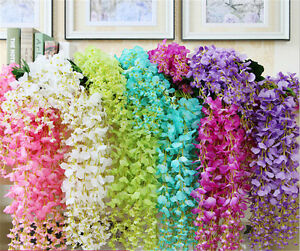 Artificial fake flower vine rattan garden hanging flowers wedding image is loading artificial fake flower vine rattan garden hanging flowers mightylinksfo