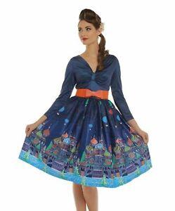 Llamativo-Lindy-Bop-Azul-Marino-Sinead-Moscu-Vestido-Estampado-ruso-una-linea-UK-16-Retro