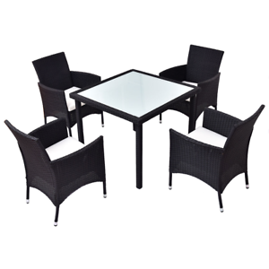 Surprising Details About Modern Garden Dining Room Black Rattan Table Chairs 5Pcs Set Patio Furniture Download Free Architecture Designs Lukepmadebymaigaardcom