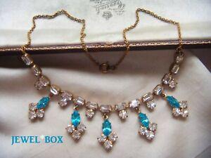 EARLIER-VINTAGE-Beautiful-AQUAMARINE-DIAMOND-CRYSTAL-RHINESTONE-NECKLACE