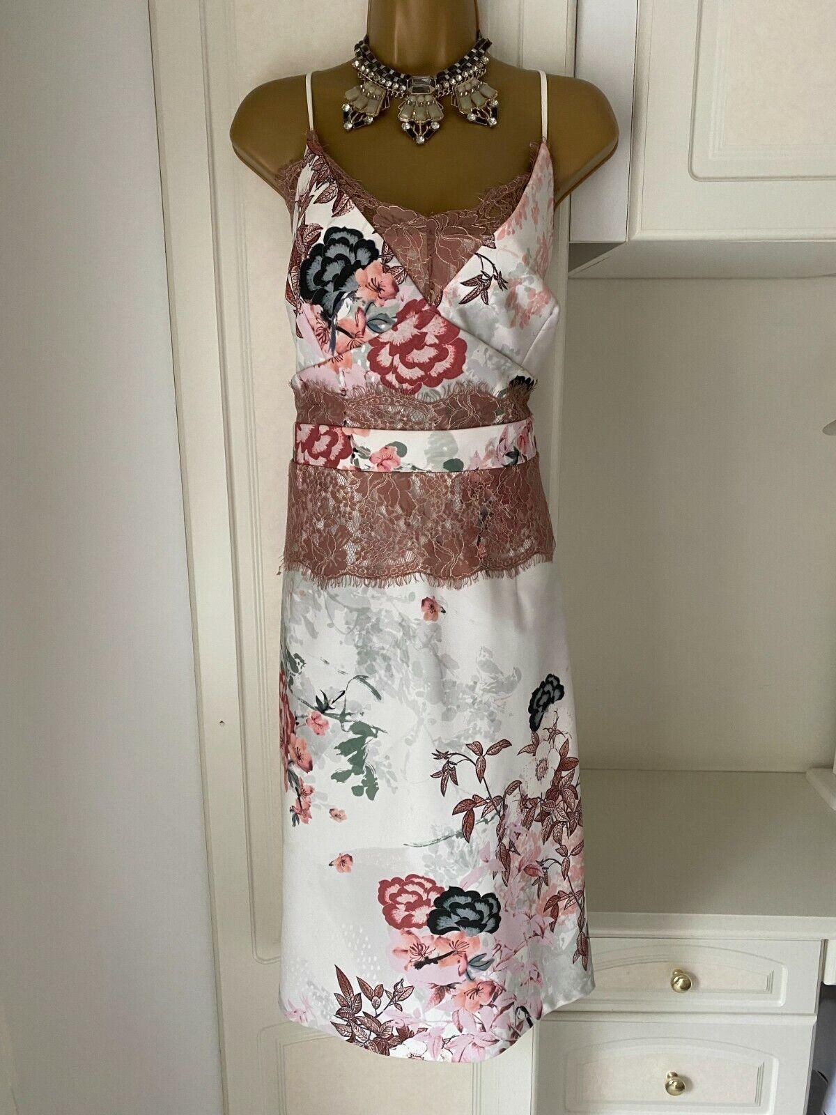 Next Size Uk 18-20 Stylish Floral Print With Lace Trim Quality Dress Bust 44