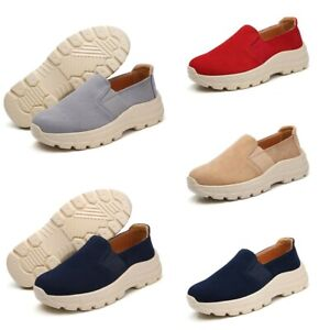 Women-039-s-Suede-Comfort-Platform-Loafers-Wedge-Slip-On-Casual-Pumps-Shoes-Trainers