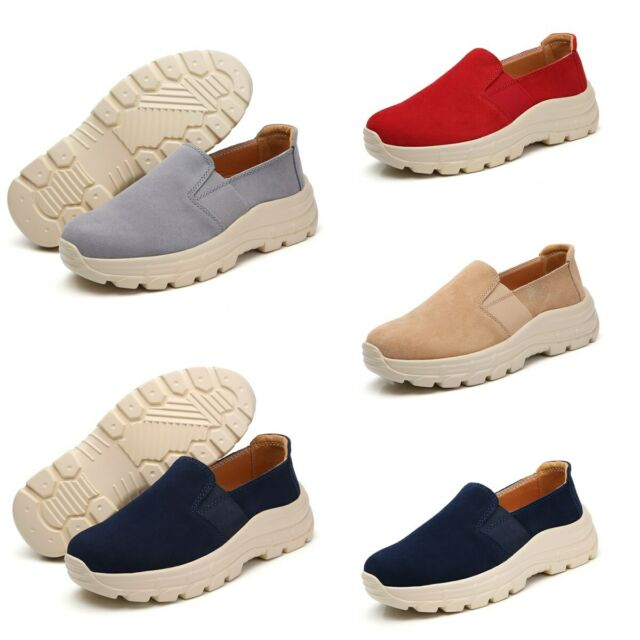 Women's Suede Comfort Platform Loafers Wedge Slip On Casual Pumps Shoes Trainers