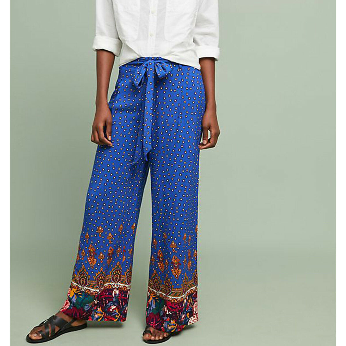 Anthropologie Ett Twa Printed Wide Leg Trousers Floral Pants Royal bluee NWT 14
