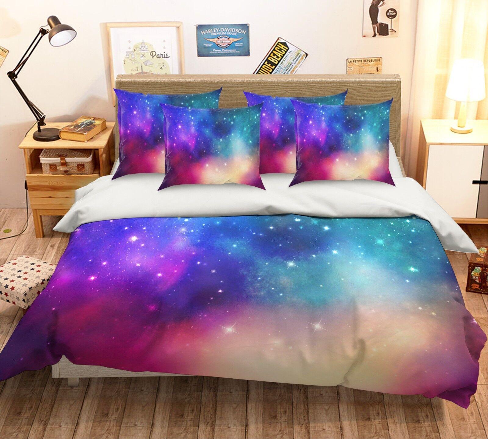 3D Star Sky 43 Bed Pillowcases Quilt Duvet Cover Set Single Queen King AU Cobb