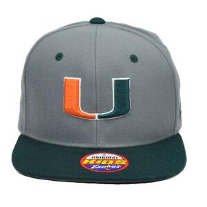 NCAA-Zephyr-Miami-Hurricanes-Canes-Youth-Kids-Gray-Flat-Bill-Snapback-Hat-Cap