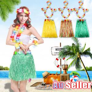 f24e083a10 5Pcs Hawaiian Fancy Dress Hula Grass Skirt Lei Flower Dance ...