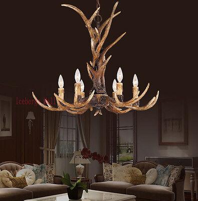 Vintage Antler Chandelier Light Retro Deer Horn Restaurant Dining Pendant Lamp