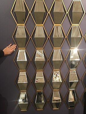 New 52 Metallic Gold Leaf Metal Beveled Mirrors Wall Art Modern 3 Dimensional 792977041512 Ebay