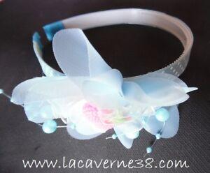 1 Serre Tête Tissus Bleu Pois Blanc Perles Fleur+sujet Diam 8/9cm Cérémonie Fête