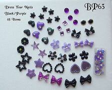 ~3d Nail Art Black + Purple Bow Flowers Roses Hearts Halloween Bling - #BP-63